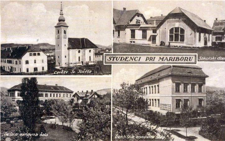 Maribor (razglednica): Studenci - cerkev sv. Jo?efa, sokolski dom, osnovna ?ola